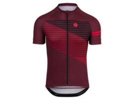 AGU Essential Striped fietsshirt korte mouwen - bordeauxrood