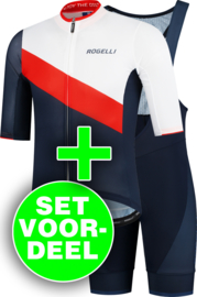 Rogelli Kai/Fuse zomer fietskledingset - blauw/rood/wit