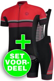 Rogelli Hero zomer fietskledingset - zwart/rood/bordeaux