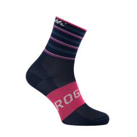 Rogelli Stripe dames zomer fietssokken - blauw/roze