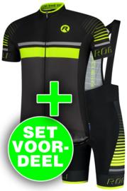 Rogelli Hero zomer fietskledingset - grijs/zwart/fluor
