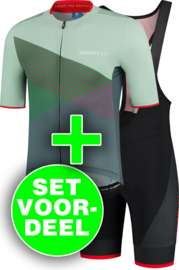 Rogelli Spike/Fuse zomer fietskledingset - grijs/groen/rood/zwart