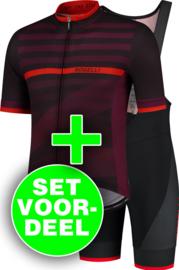 Rogelli Stripe/Fuse zomer fietskledingset - bordeaux/rood/zwart