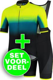 Rogelli Horizon/Fuse zomer fietskledingset - fluor/blauw/zwart