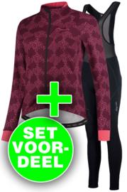 Rogelli Blossom/Liona dames winter fietskledingset - cerise/coral/zwart