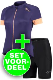 Rogelli Modesta/Basic dames zomer fietskledingset - paars/zwart/coral