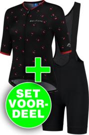 Rogelli Fruity/Ultracing dames zomer fietskledingset - zwart/rood