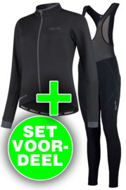 Rogelli Essential/Liona dames winter fietskledingset - zwart