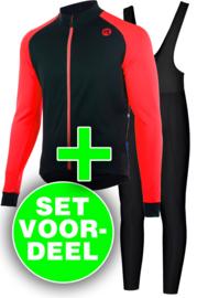 Rogelli Caluso/Basic winter fietskledingset - zwart/rood