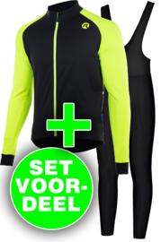 Rogelli Caluso/Basic winter fietskledingset - zwart/fluor