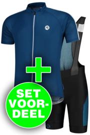 Rogelli Explore/Tyro zomer fietskledingset - blauw/zwart/wit
