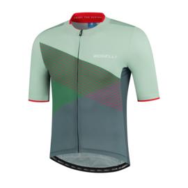 Rogelli Spike fietsshirt korte mouwen - grijs/groen/rood