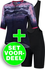 Rogelli Animal/Ultracing dames zomer fietskledingset - blauw/roze/zwart