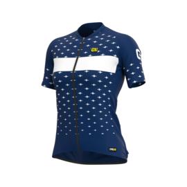 Alé Stars dames fietsshirt korte mouwen - blauw/wit