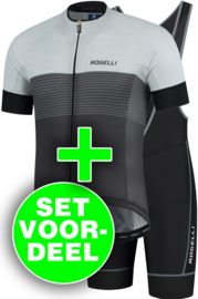Rogelli Boost/Lugo zomer fietskledingset - zwart/grijs