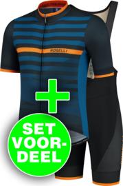 Rogelli Stripe/Fuse zomer fietskledingset - blauw/oranje/zwart