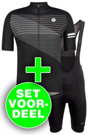 AGU Essential/Striped heren fietskledingset - zwart/wit