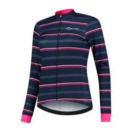 Rogelli Stripe dames winter fietsjack - blauw/roze