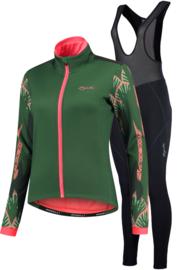 Rogelli Liona/Vivid dames winter fietsjack - groen/coral/zwart