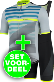 Rogelli Stripe/Fuse zomer fietskledingset - grijs/fluorgeel/zwart