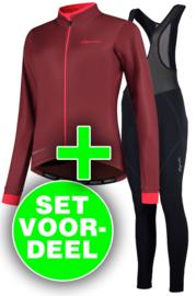 Rogelli Essential/Liona dames winter fietskledingset - bordeaux/coral/zwart