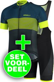 Rogelli Boost/Fuse zomer fietskledingset - blauw/fluorgeel/zwart