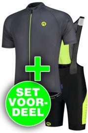 Rogelli Explore/Tyro zomer fietskledingset - grijs/zwart/fluor
