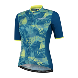 Rogelli Leaf dames fietsshirt korte mouwen - turquoise/geel