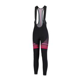 Rogelli Impress lange dames fietsbroek - zwart/bordeaux/roze