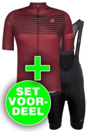 AGU Essential/Striped heren fietskledingset - rood/zwart