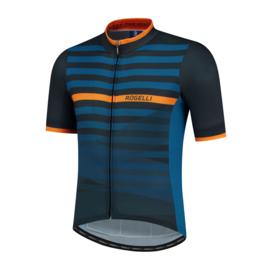 Rogelli Stripe fietsshirt korte mouwen - blauw/oranje