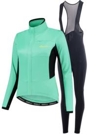 Rogelli Barrier/Nero dames winter fietskledingset - mint/zwart