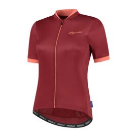 Rogelli Essential dames fietsshirt korte mouwen - bordeaux/coral