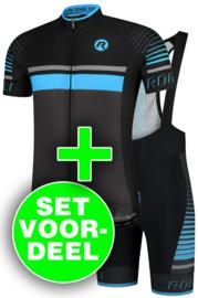 Rogelli Hero zomer fietskledingset - zwart/blauw/grijs