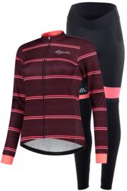 Rogelli Stripe/Select dames winter fietskledingset - bordeaux/coral/zwart