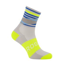 Rogelli Stripe zomer fietssokken - grijs/fluor/blauw
