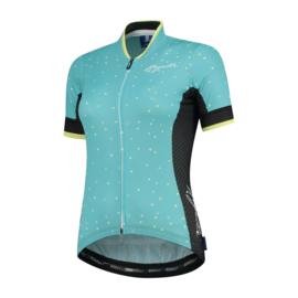 Rogelli Delta dames fietsshirt korte mouwen – turquoise/geel