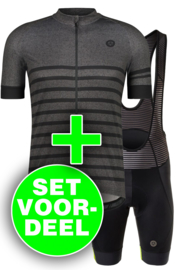 AGU Essential Prime/Melange heren fietskledingset - grijs/zwart