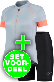 Rogelli Modesta/Basic dames zomer fietskledingset - grijs/coral/zwart