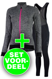 Rogelli Benice/Liona dames winter fietskledingset - grijs/zwart/roze