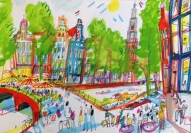Amsterdam - Gracht met terras op brug