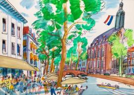 Leiden- Rapenburg met café Barrera en het Academiegebouw