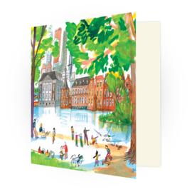 Kunstkaart - Den Haag Hofvijver en het Mauritshuis