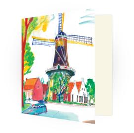 Kunstkaart - Wassenaar Molen op het Molenplein