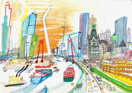 Rotterdam - vogelvlucht met het Witte Huis, Kubuswoningen, Blaaktoren en Markthal