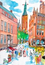 Den Haag - Oude Raadhuis , Grote Kerk en Driehoekjes