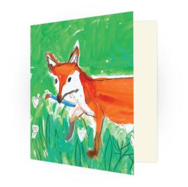Kunstkaart - de Vos in tuin