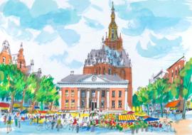 Groningen - de Vismarkt met Korenbeurs en Der Aa-kerk