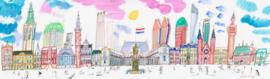 Den Haag - skyline met oa Paleis Noordeinde, Vredespaleis en Ridderzaal