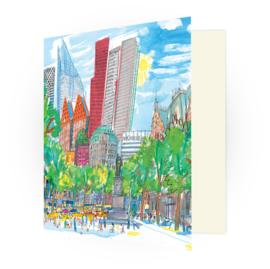 Kunstkaart - Den Haag Plein met skyline